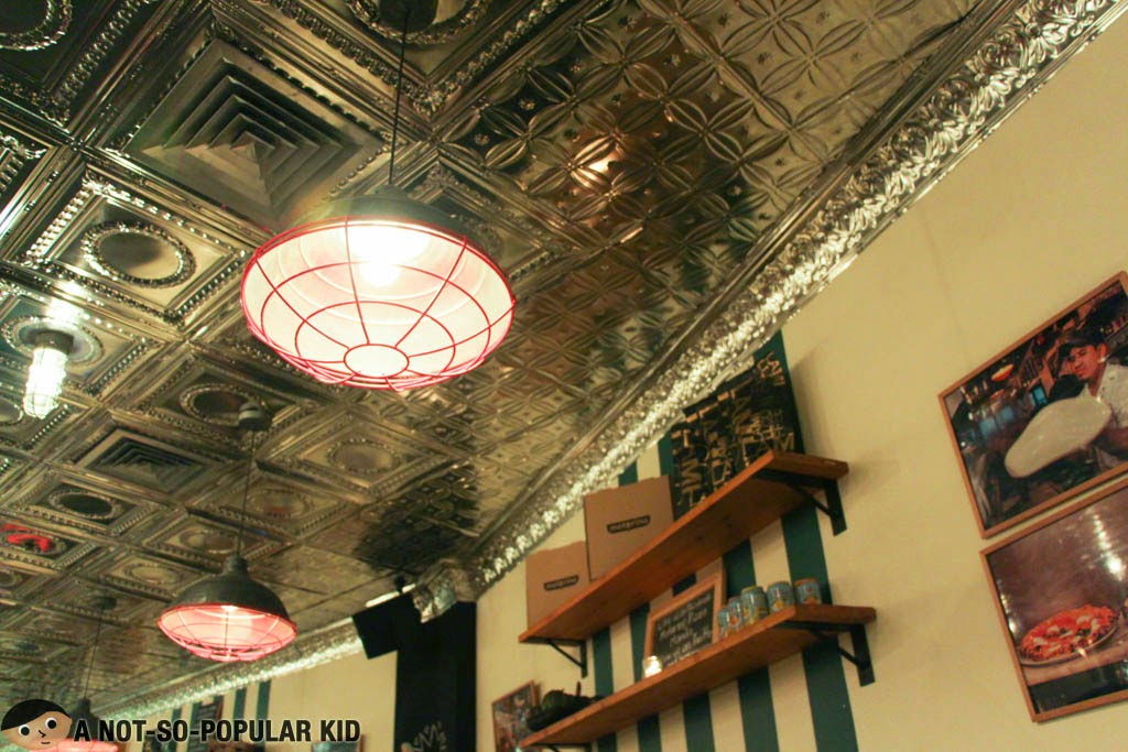 Metallic ceiling and the fancy interior of Motorino