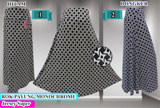 Rok panjang model payung dari jersey motif super