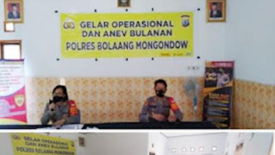 Kapolres Bolmong Pimpin Gelar Operasional Dan Anev BulananDan Sosialisasi Anticovid 19