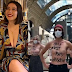 Feminists pose topless to protest after a woman was denied entry to museum over 'cleavage' (photos/video)