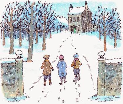 Τα Χριστούγεννα ενός παιδιού από την Ουαλία, του Ντύλαν Τόμας. Εικονογράφηση του Peter Bailey
