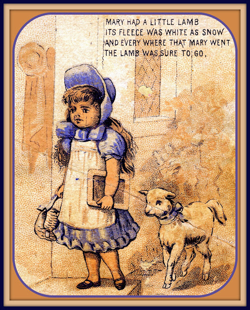 Lamb follows Mary Sawyer to school. Mary is wearing blue and white dress with blue bonnet and carrys a chalkboard and basket. Her lamb is wearing a blue bow around its neck.