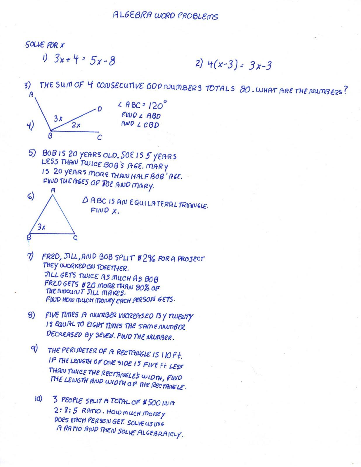Algebra Word Problem Solving Help Algebra Word Problems