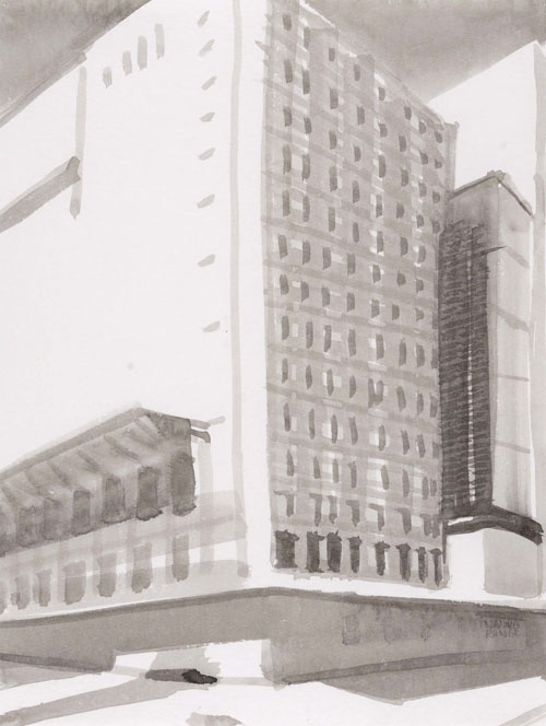 Nanda Runge World Bank VIB (Very Important Building), 2008 chinese ink on paper 30 x 40 cm