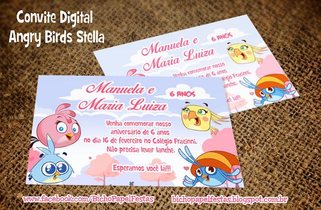 Arte Convite Digital Angry Birds Stella