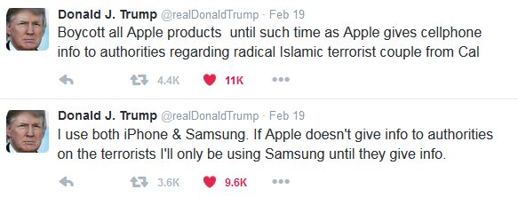 Donald Trump boycott all Apple products Twitter tweet iPhone
