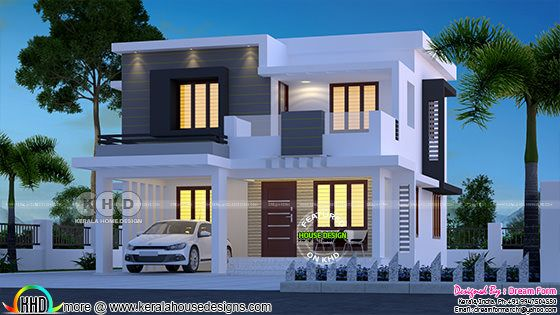 Flat model contemporary Kerala home 1680 square feet