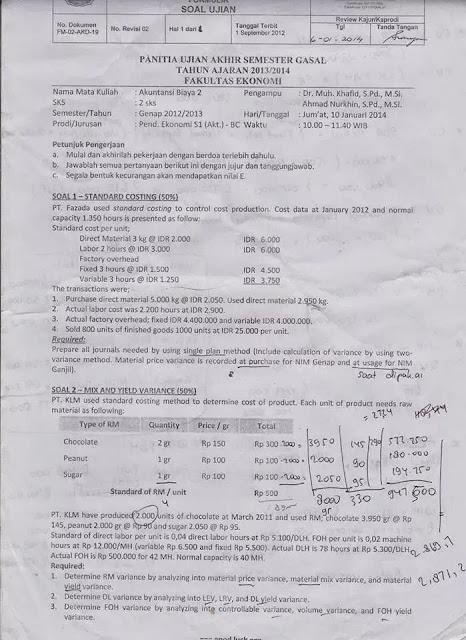 Soal Ujian Akuntansi Biaya Helmi Kediris
