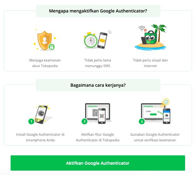 cara aktivasi google authenticator tokopedia
