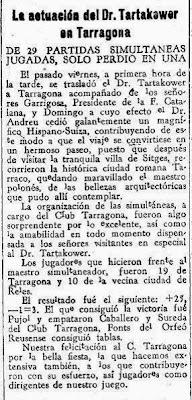 Simultáneas de Tartakower en Tarragona 1931