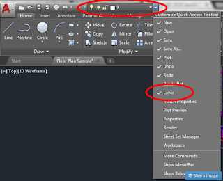 quick access toolbar autocad