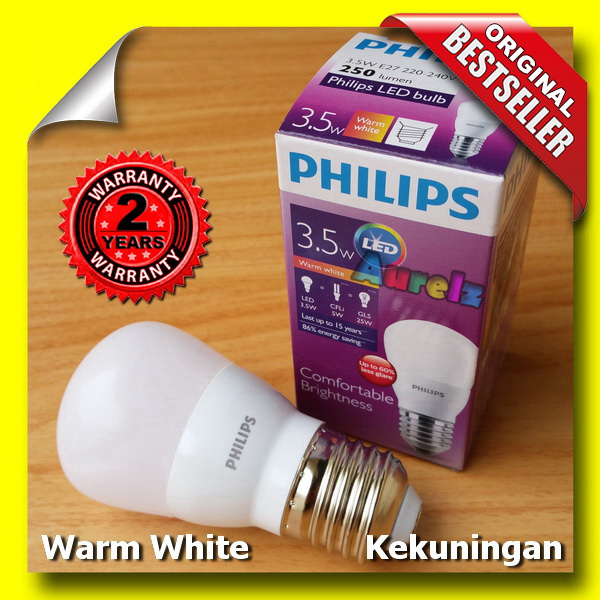 lampu led philips 3.5 watt warm white