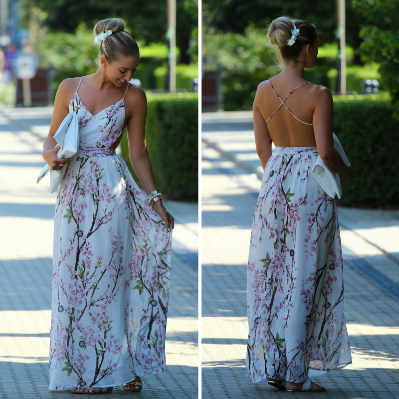 Wearing a Maxi Floral Backless Dress with Bun