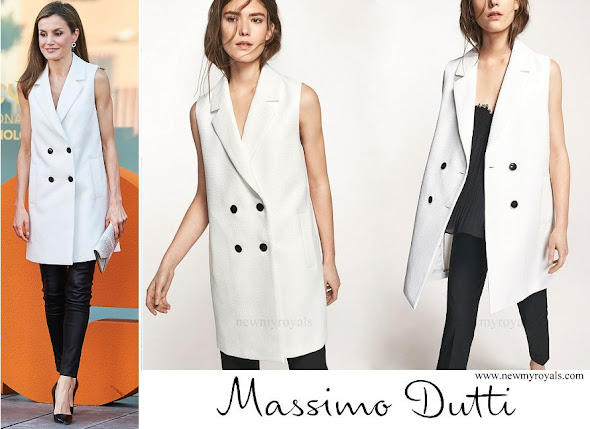 Queen Letizia wore Massimo Dutti white textured weave gilet 2017 Spring Summer Collection