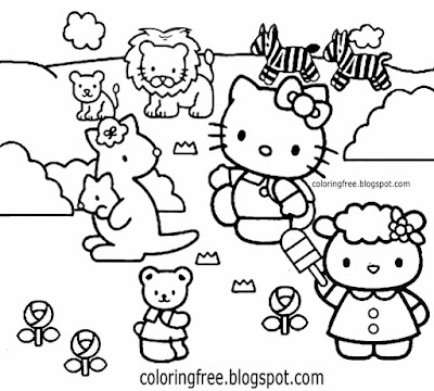 Hello Kitty clipart black and white zebra lion elephant zoo animal colouring pages for teenage girls