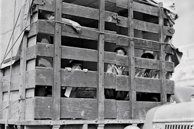 Clem Albers, A truck packed with Japanese American residents of San Pedro, California, leaves for a temporary detention center, April 5, 1942 Courtesy extranewsfeed.com