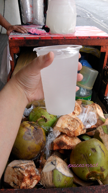 Pag me pambara dapat me panulak. Lest you choke to death with all those food, here is coconut water to drink. Plentiful here in the country- very nutritious, refreshing and delicious. 1 whole coconut is Php 30, and a cup is only Php 5!