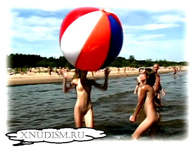 The Russian nudist beach naked young girls playing ball