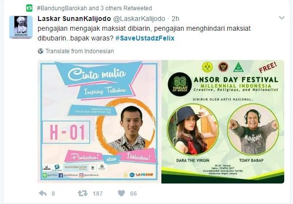 Dicintai Umat, Dalam Waktu Singkat Tagar #SaveUstadzFelix Trending Topik No 1 di Twitter