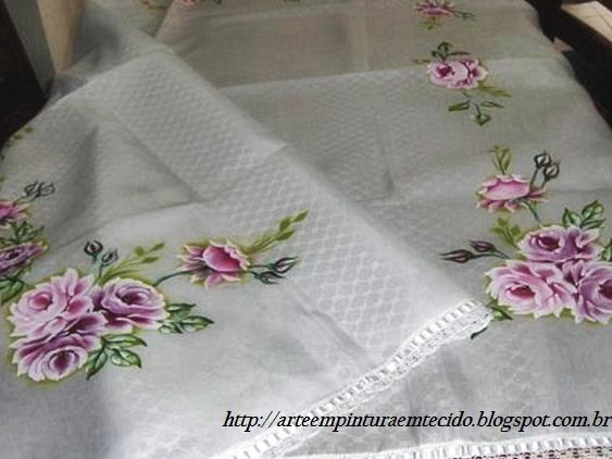pintura em tecido toalha de mesa pintada