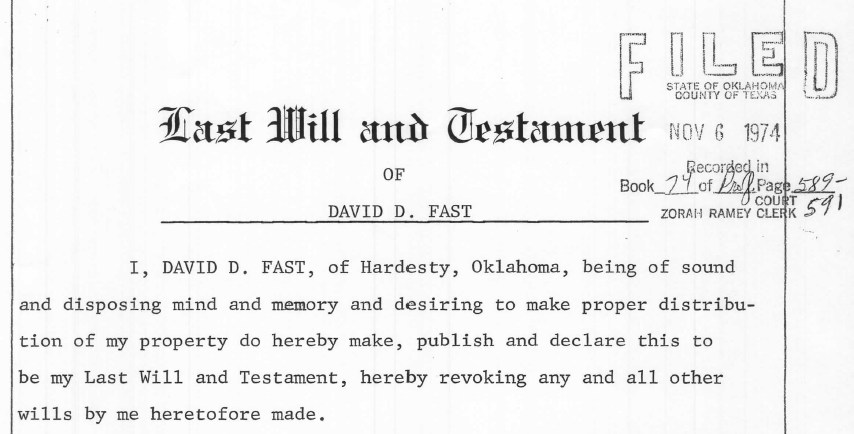 Mennonite genealogy forum november 2016 extract from will of david d fast 15 august 1967 texas county oklahoma probate records clerk of district court courthouse guymon solutioingenieria Gallery
