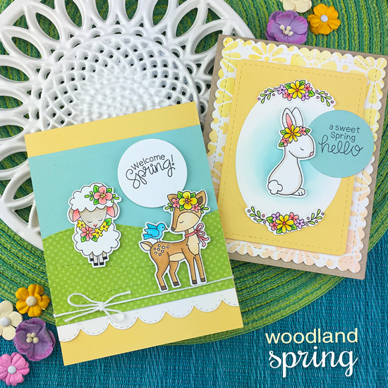 Spring cards with animals and flowers by Jennifer Jackson | Woodland Spring Stamp Set, Border Die Sets and Bold Blooms Stencil by Newton's Nook Designs #newtonsnook #handmade