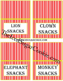 Circus Food Cards-Lion Snacks, Clown Snacks, Elephant Snacks, Monkey Snacks