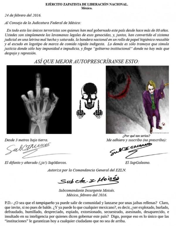 EL SUBMARCOS (AHORA GALEANO) ENVÍA MENSAJE AL SISTEMA JUDICIAL MEXICANO