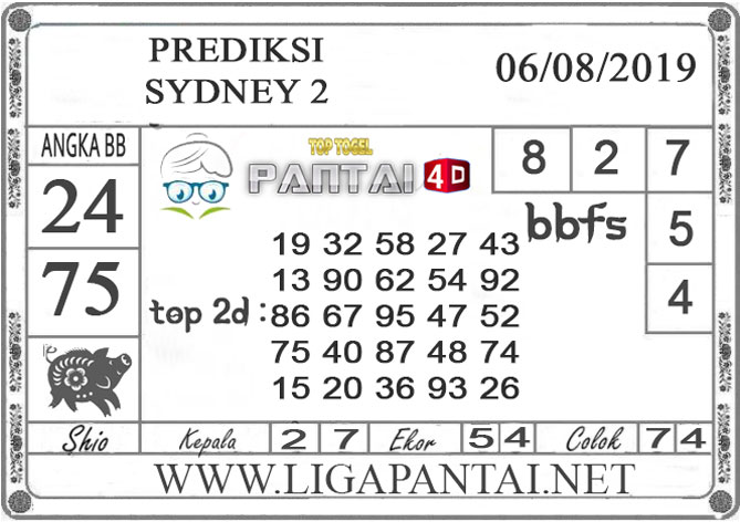 "PREDIKSI TOGEL ""SYDNEY 2"" PANTAI4D 06 AGUSTUS 2019"
