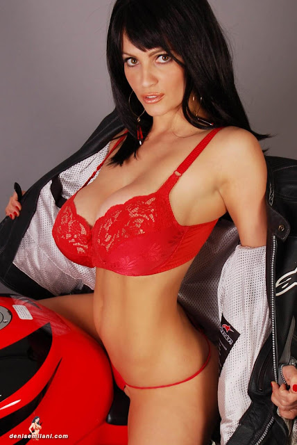 Denise-Milani-Bike-Photoshoot-in-red-hot-bikini-picture-5