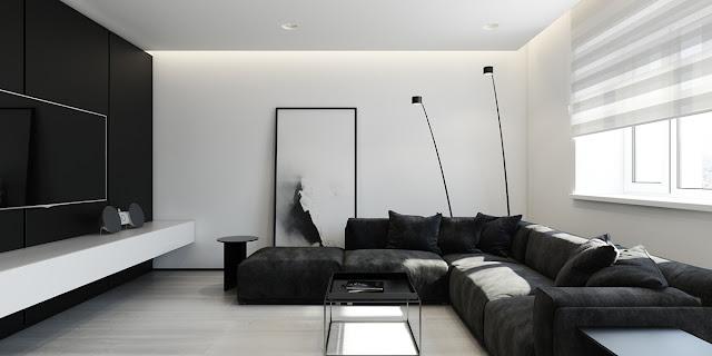 интерьер черное и белое