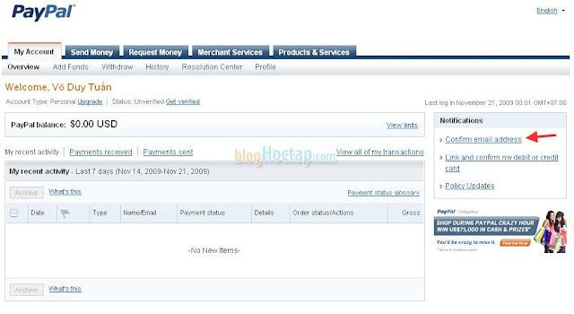 Xác nhận địa chỉ Email cho tài khoản Paypal bước 2