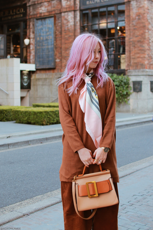 Japanese Fashion Blogger,Mizuho K,SheIn=brown long knit dress,Sammydress=corduroy wide leg pants,Zaful=big belt hand bag,ZARA=sandals,Tabio=socks,HERMES=scarf,NIXON=gold watch
