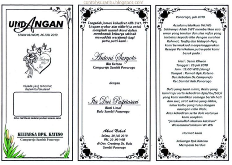 Contoh Surat Undangan Pernikahan Sederhana Sekali