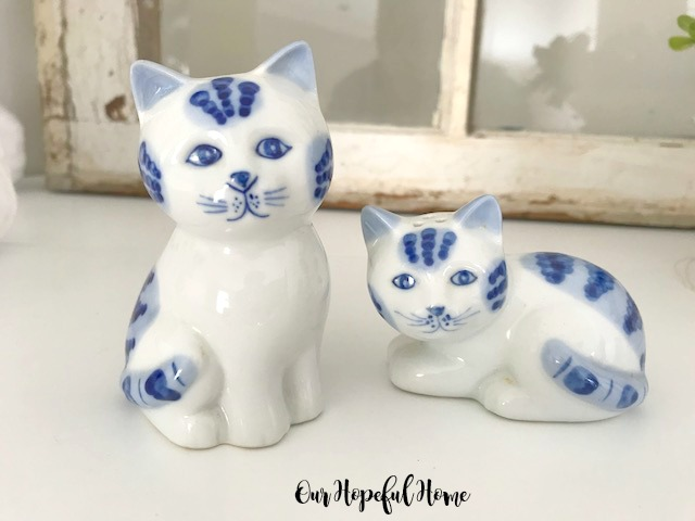 blue white porcelain cats made in thailand