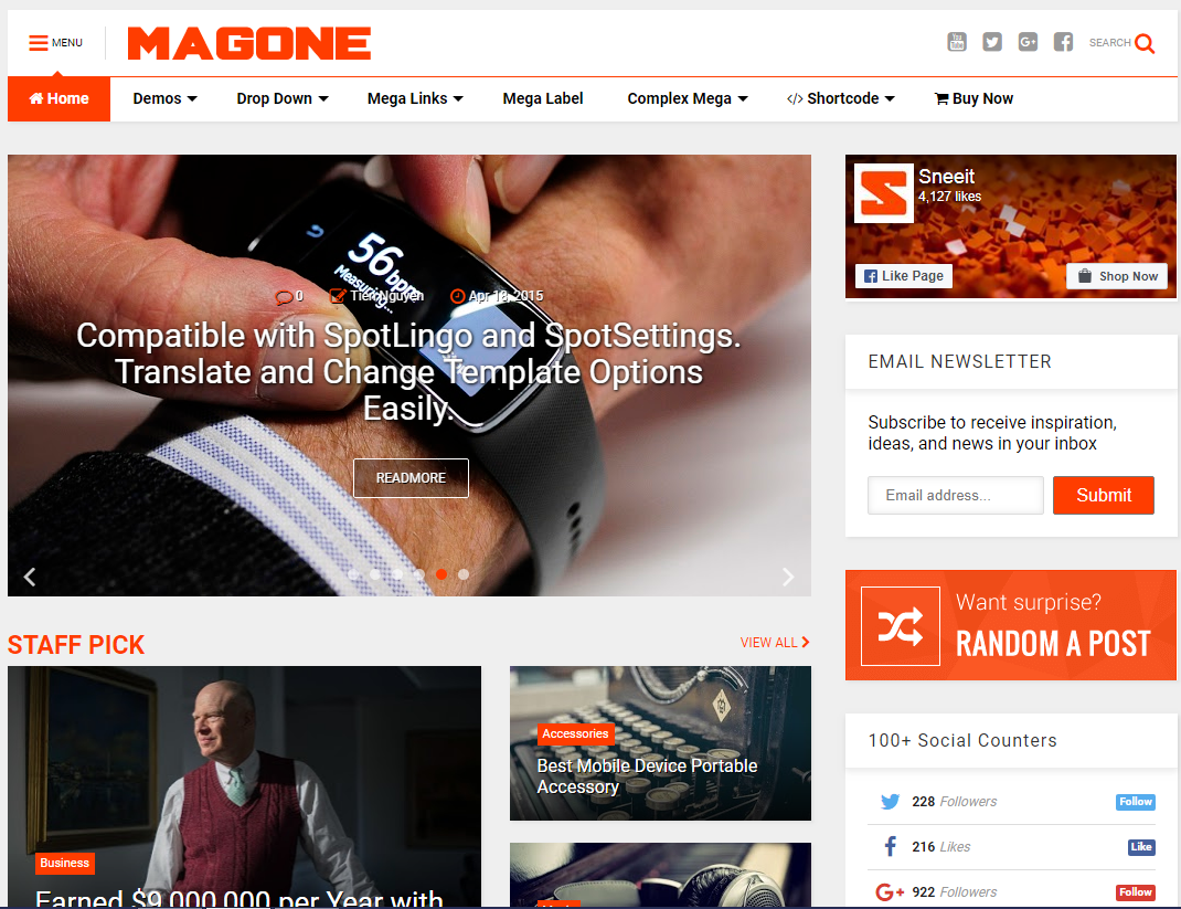 Magone Responsive News Magazine Blogger Template Gebtech Solutions