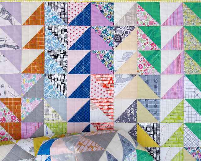 Carkai Half Square Triangle Quilt - backing fabric | Red Pepper Quilts 2015