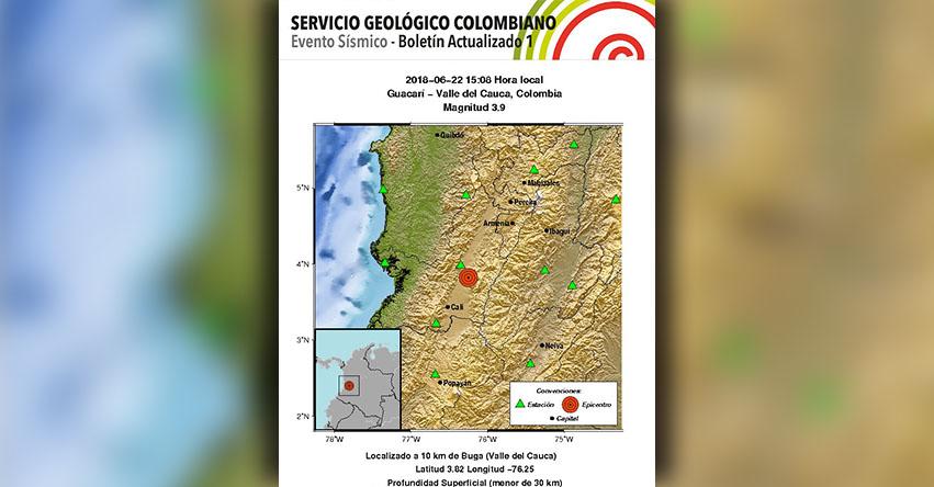 FUERTE SISMO EN COLOMBIA de magnitud 3.9 (Hoy Viernes 22 Junio 2018) Temblor EPICENTRO Santiago de Cali - Colombia - Guacarí - Valle del Cauca - www.sgc.gov.co