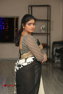 Telugu Actress Jayavani Jayavani Stills in Black Saree at Intlo Deyyam Nakem Bhayam Success Meet  0031.JPG
