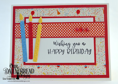 Our Daily Bread Designs Stamp Set: Celebrating You, Paper Collections: Birthday Bash, Birthday Brights, Custom Dies: Pierced Rectangles, Double Stitched Rectangles, Rectangles, Birthday Candles