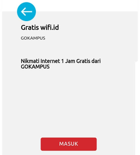 """akan muncul notifikasi """"Nikmati Internet Gratis 1 Jam dari GOKAMPUS"""", kemudian pilih """"Masuk"""" untuk melanjutkan."""