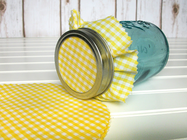 yellow & white gingham jam jar covers