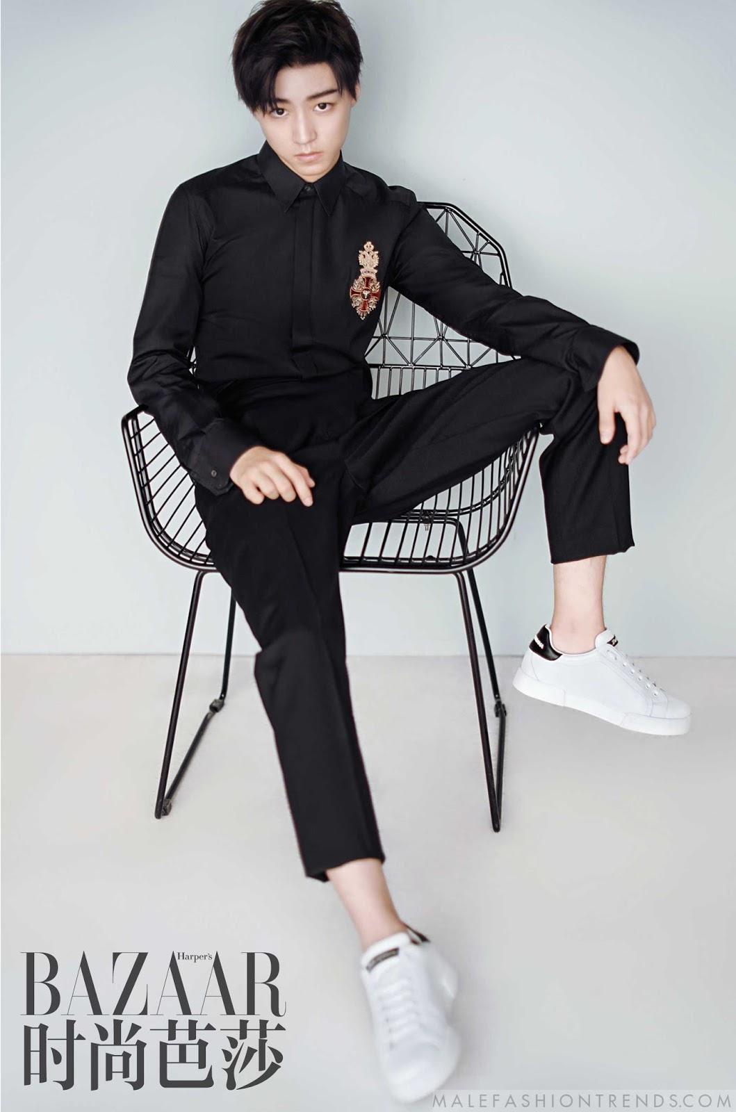 Wang Junkai Viste De Dolce Amp Gabbana Para Harper S Bazaar
