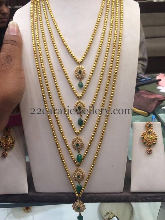 Gold Beads Steps Long Set Jewellery Designs