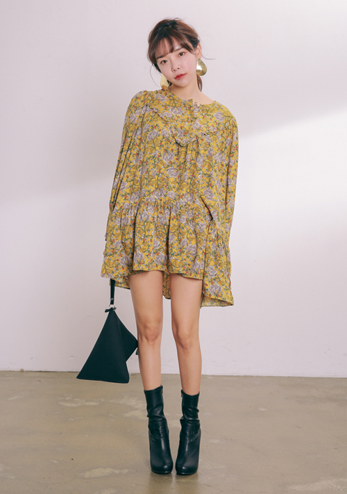 Frilled Floral Mini Dress