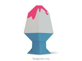 Cách gấp, xếp kem ly bằng giấy origami - Video hướng dẫn xếp hình đồ ăn - How to fold a Shaved Ice