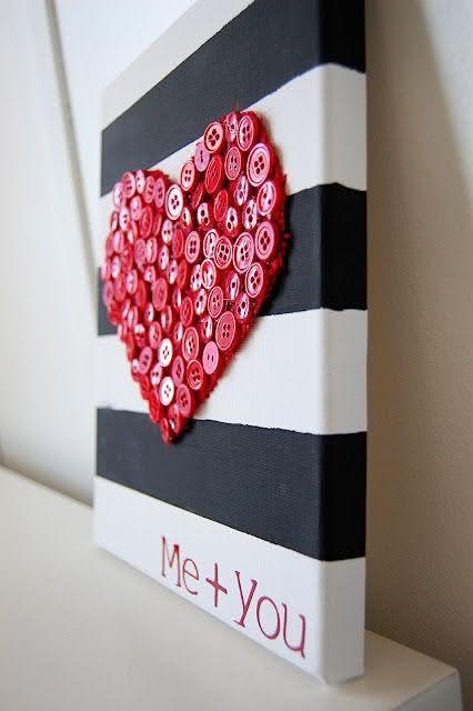 reaproveitando botoes para fazer quadro de coração