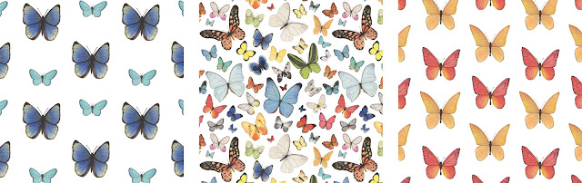 butterflies, watercolor butterflies, surface pattern design, fabric design, watercolor fabric, Anne Butera, My Giant Strawberry