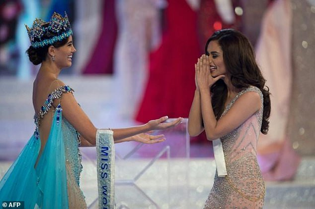 Miss World 2016 Stephanie Del Valle crowns Miss India Manushi Chhilar after she wins the 67th Miss World contest final in Sanya