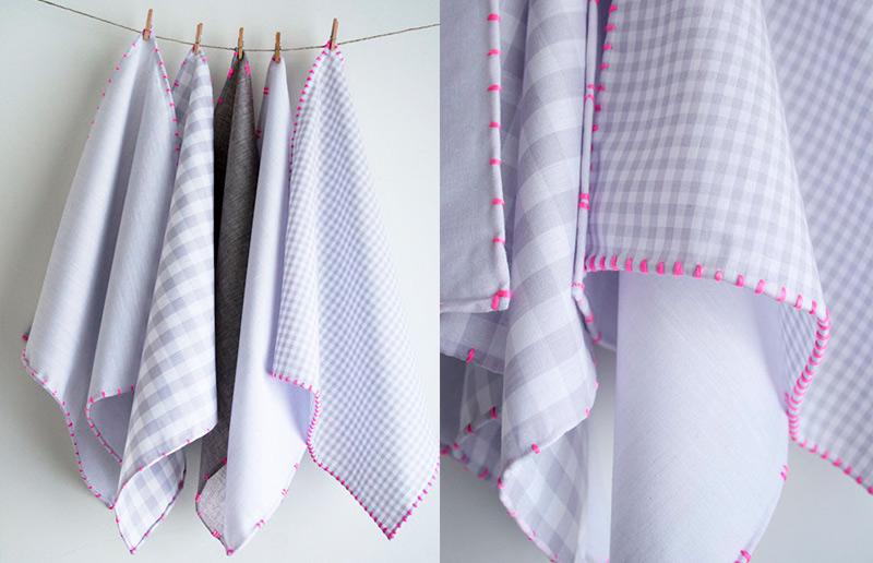 Guardanapos de tecido de bainha rolada